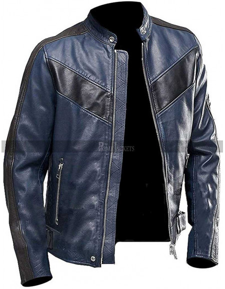 Men Retro Biker Vintage Blue Motorcycle Black Stripes Leather Jacket