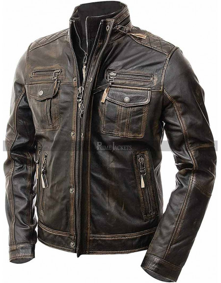 Men's Vintage Biker Retro Motorcycle Distressed Leather Jacket