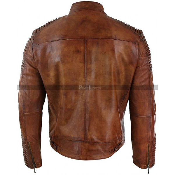 Cafe Racer Motorcycle Quilted Distressed Brown Leather Jacket