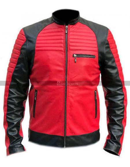 Cafe Racer Red Retro Black Quilted Biker Leather Jacket