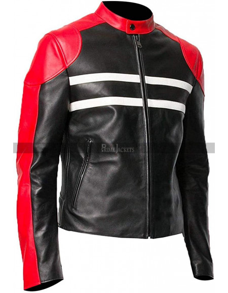 Cafe Racer Men's Retro Biker Speedster Black & Red Motorcycle Jacket