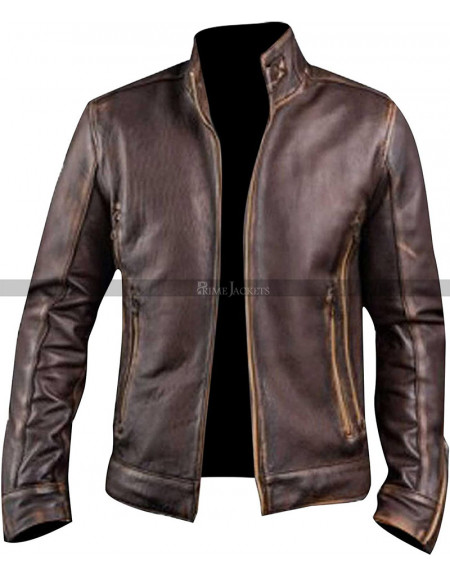 Vintage Cafe Racer Distressed Brown Motorcycle Leather Jacket