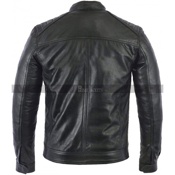 Café Racer Lambskin Motorcycle Real Black Leather Biker Jacket