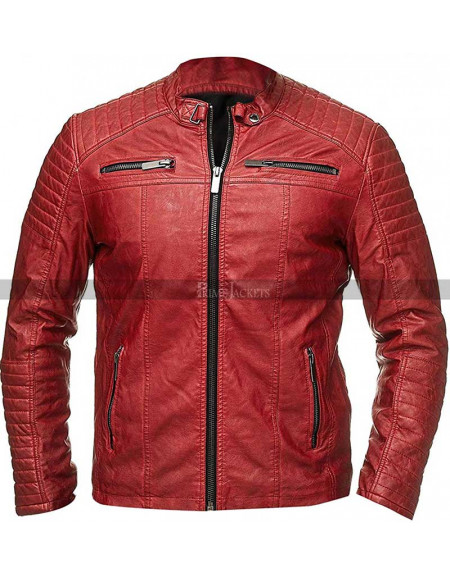 Cafe Racer Men's Red Quilted Biker Leather Jacket