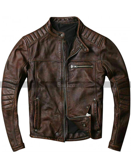 Men's Quilted Distressed Brown Motorcycle Leather Jacket
