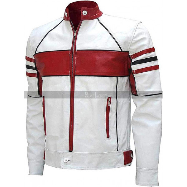 Mens Cafe Racer Retro Biker Red Leather Jacket