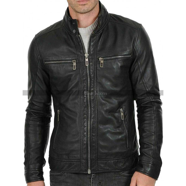 Men's Street Classy Shield Motorcycle Black Leather Jacket