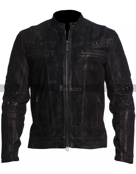 Vintage Cafe Racer Men's Studs Motorcycle Black Leather Jacket