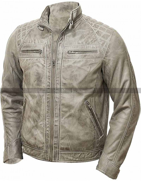 Men's Cafe Racer Motorcycle Quilted Distressed Grey Jacket