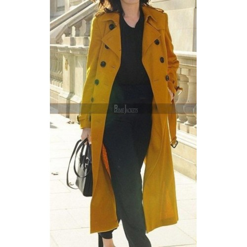 Anne Hathaway Chic Yellow Trench Coat