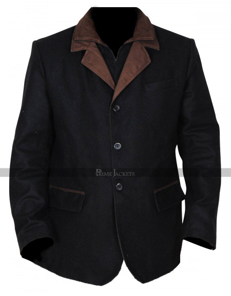 Don Johnson Blood & Oil Hap Brigg Black Wool Coat