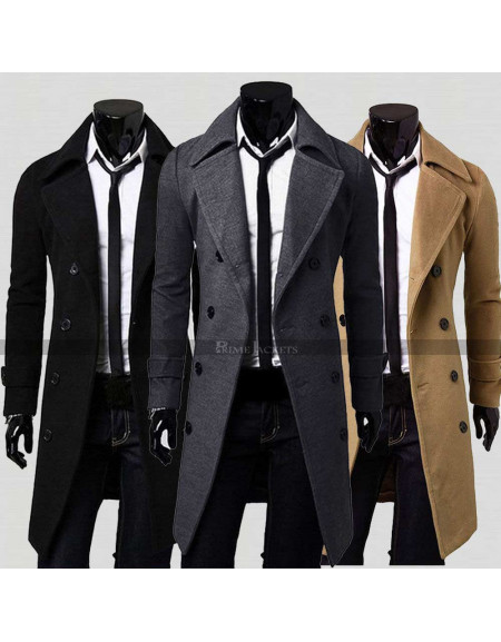 Men's Double Breasted Casual Slim Fit Trench Blazer Coat