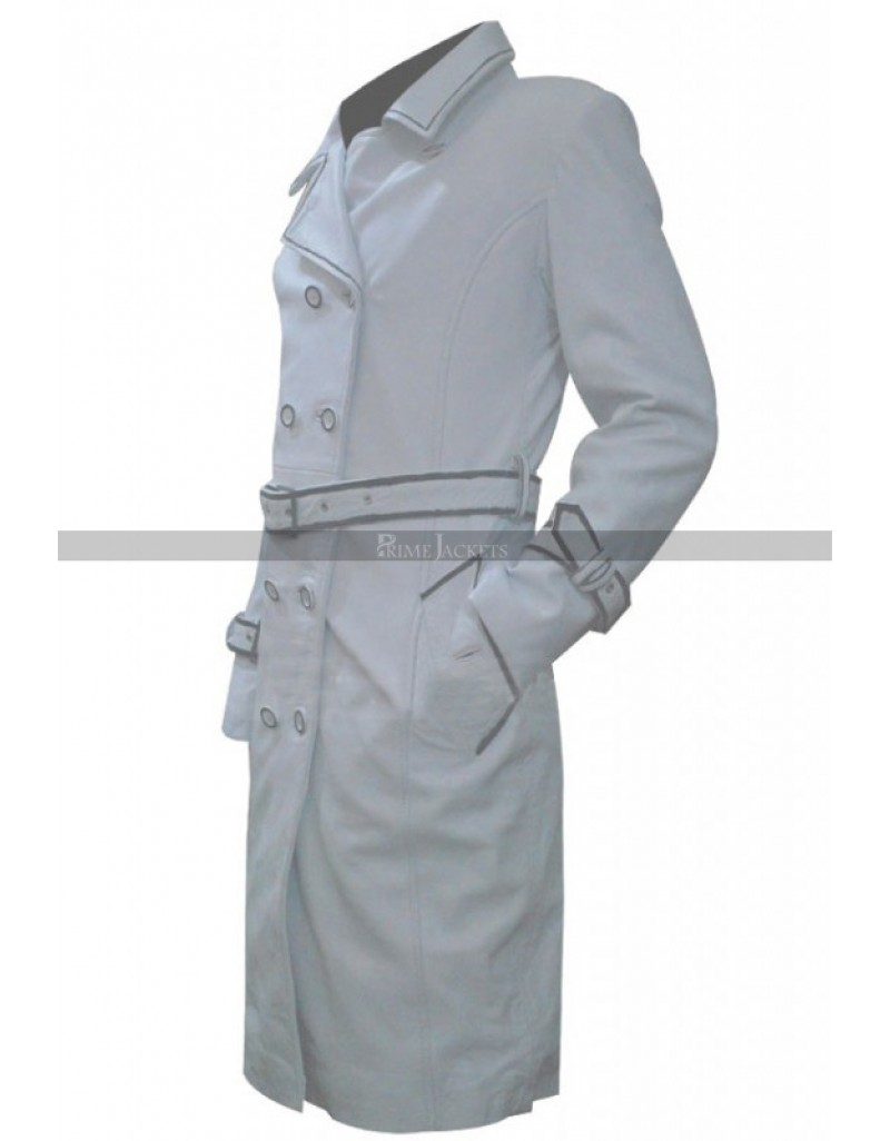 reliable quality select for clearance quality design Daryl Hannah (Elle Driver) Kill Bill White Leather Coat