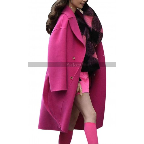 Lily Collins Outfits Emily in Paris Pink Coat