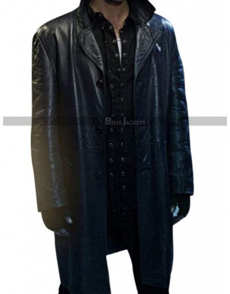 John Mitchell Being Human Leather Black Coat