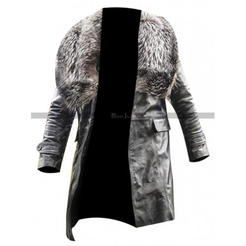 Mike Colter Black and Blue Fur Collar Coat