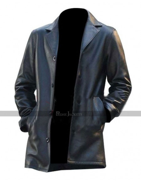 Joshua Jackson Fringe Peter Bishop Black Leather Coat