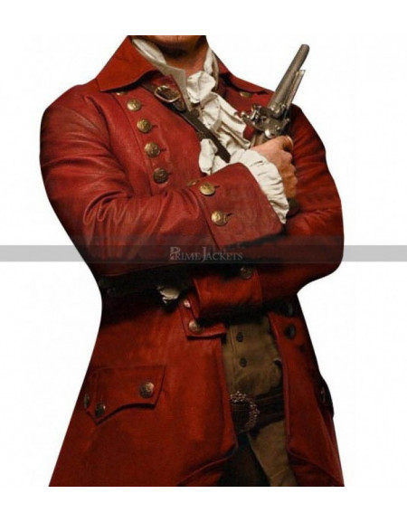Luke Evans Beauty And The Beast Gaston Red Leather Coat