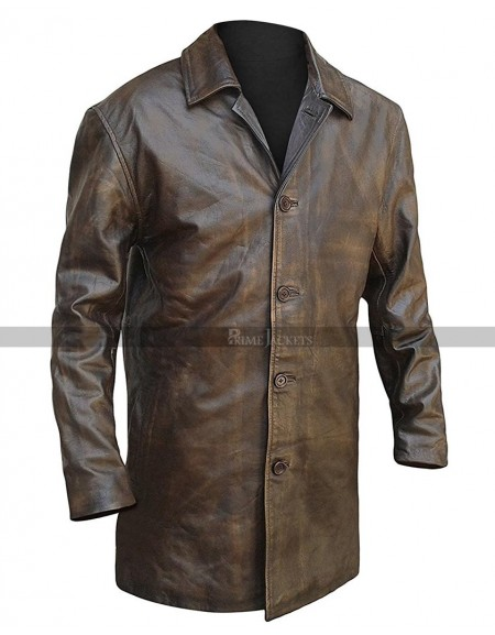 Men Distressed Brown Leather Blazer Jacket