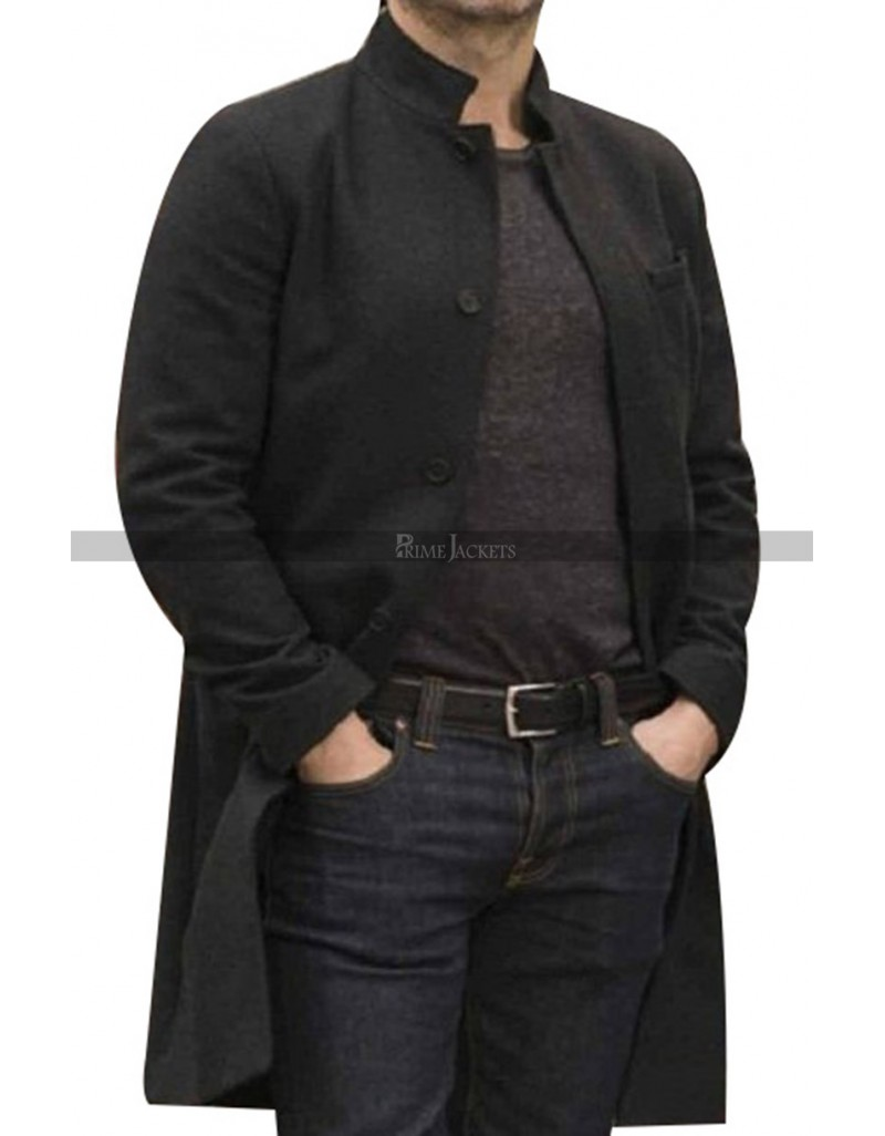 Santiago Cabrera Salvation Black Wool Coat