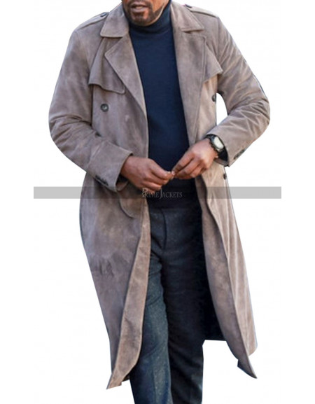John Shaft Grey Suede Leather Coat