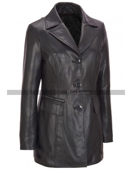 Women's Black Petite Trench Coat