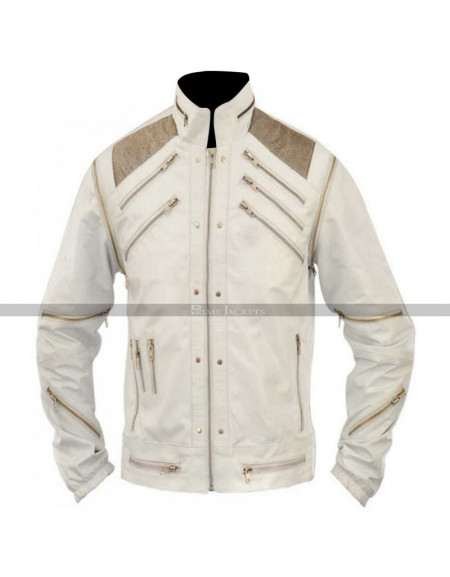 Michael Jackson Beat It White Leather Jacket