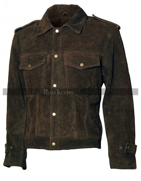 Beatles John Lennon Rubber Soul Men Brown Suede Leather Jacket