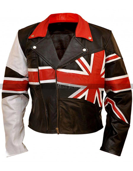 Union Flag British Flag Black Leather Jacket