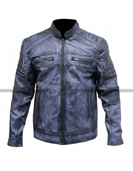Vintage Cafe Racer Distressed Blue Motorcycle Leather Jacket