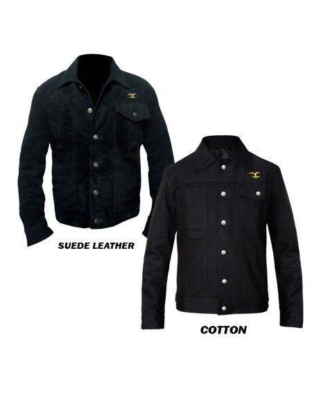 Cole Kenneth Hauser Yellowstone Series Suede Leather Black Jacket