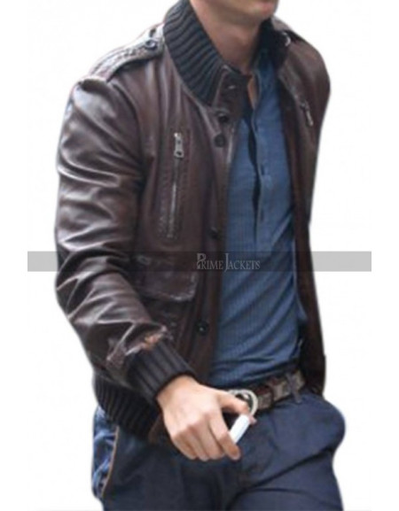 Cristiano Ronaldo Brown Bomber Leather Jacket