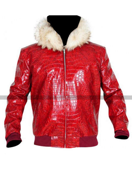 Men's Fur Hood Red Crocodile Jacket