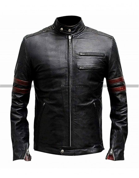 Fight Club Tyler Durden Retro Black Leather Jacket