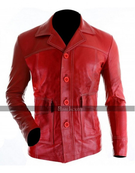 Brad Pitt Fight Club Tyler Durden Red Leather Jacket