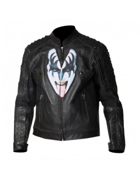 Kiss The Demon Love Gun Gene Simmons Studded Leather Jacket