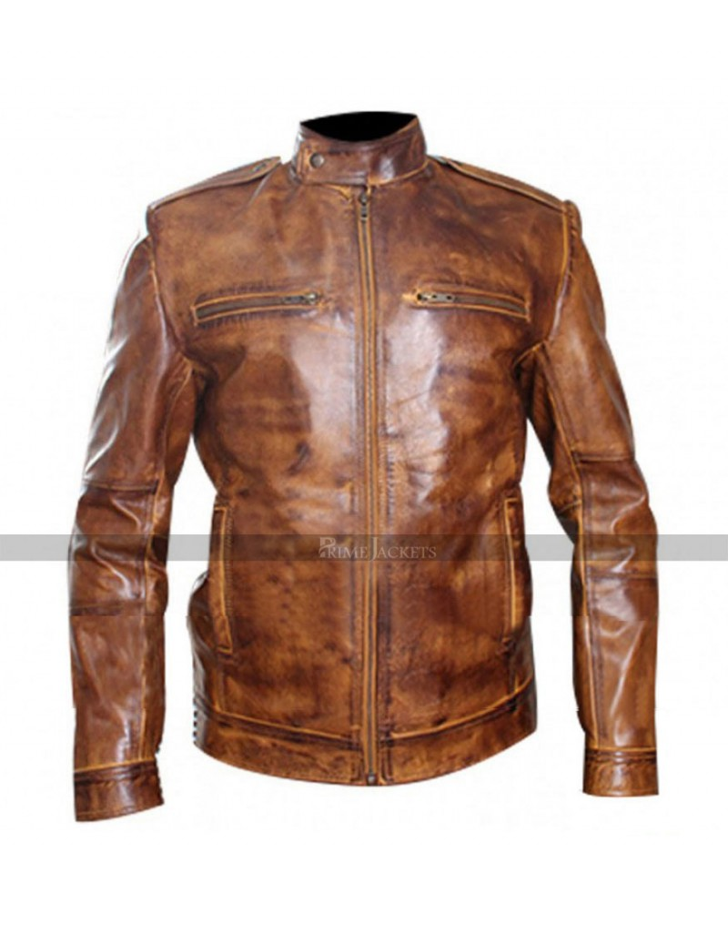 Men Designer Rider Bronze Brown Leather Jacket