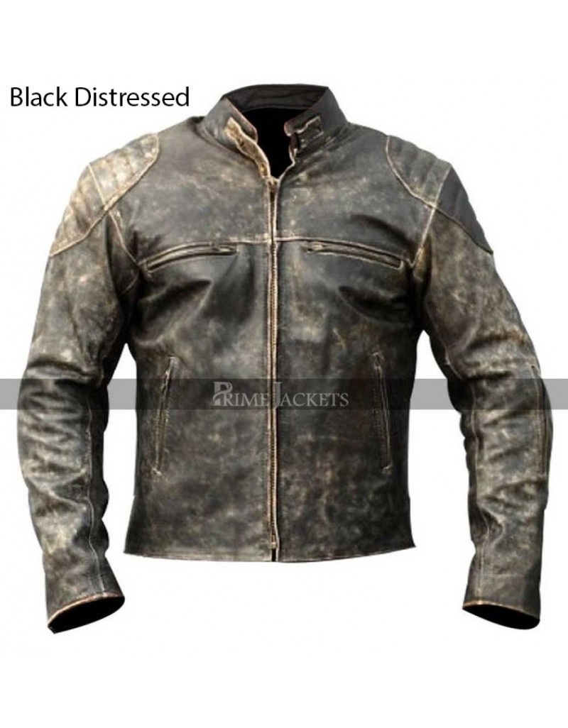 10717194bd64 Vintage Antique Distressed Black Retro Motorcycle Biker Leather Jacket