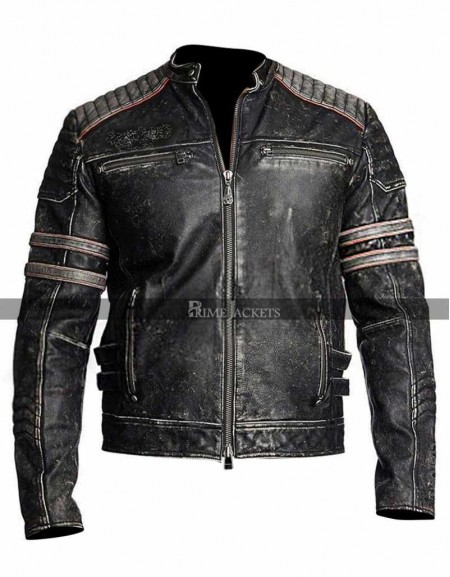 Vintage Motorbike MC Retro Distressed Black Jacket
