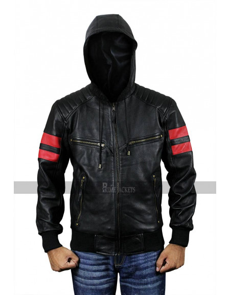 Men's Biker Hooded Racing Leather Retro Bomber Jacket Baseball