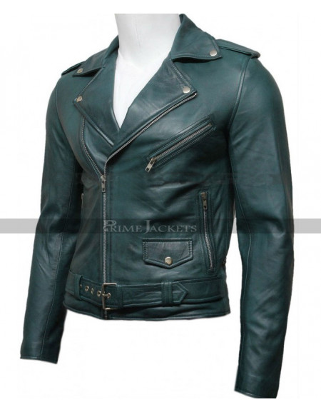 Mens Green Motorcycle Jacket
