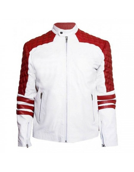 Mens White and Red Stripe Leather Jacket