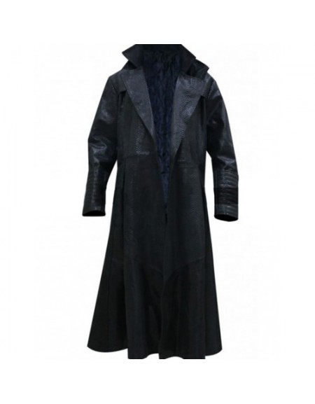 The Matrix Laurence Fishburne Alligator Morpheus Leather Costume Coat