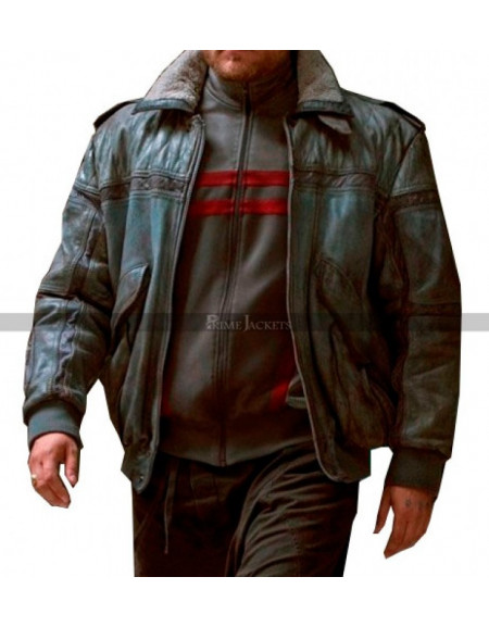 Ghost in the Shell Batou Shearling Collar Bomber Leather Jacket