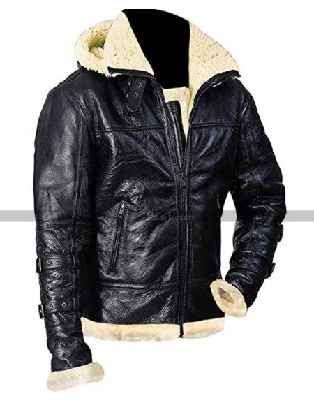 B 3 Hooded Sheepskin Bomber Jacket
