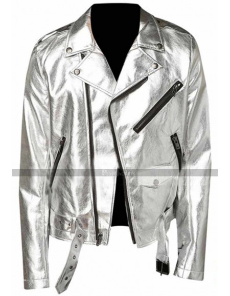 Men Silver Shiny Leather Jacket