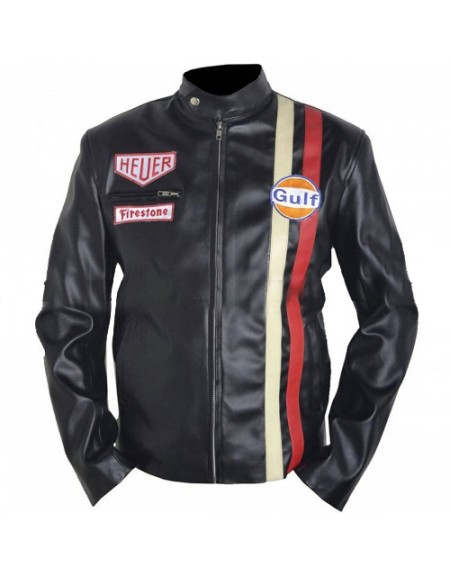 Vintage Le Mans Steve McQueen Black Leather Jacket