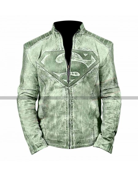 Superman Men Distressed Light Green Or Brown Moto Jacket