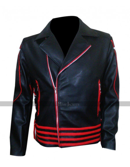 Freddie Mercury Concert Black & Red Leather Jacket
