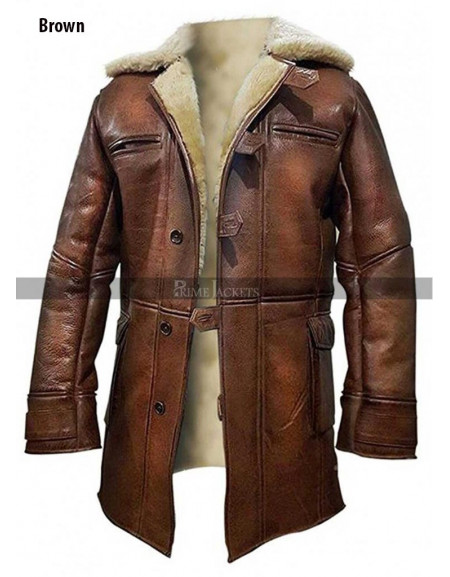 Batman The Dark Knight Rises Bane (Tom Hardy)  Fur Trench Coat